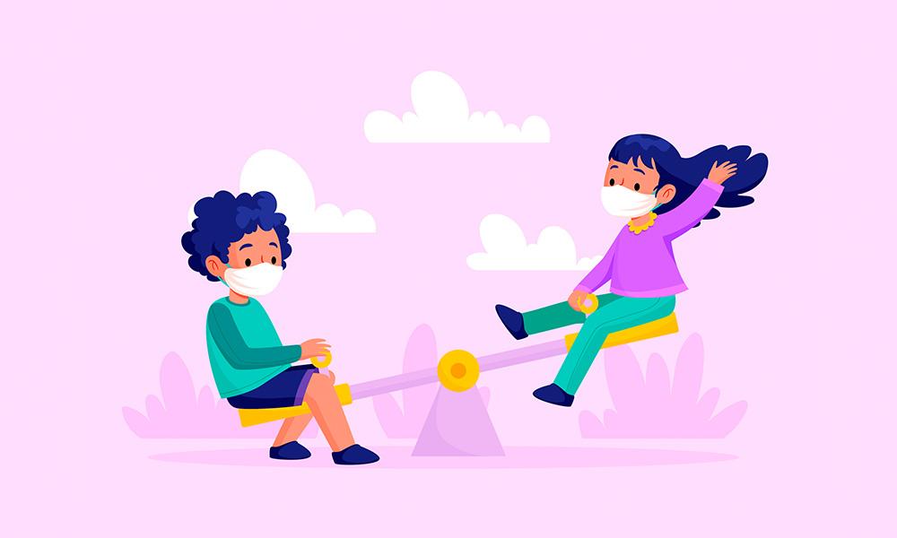 niños jugando con mascarilla