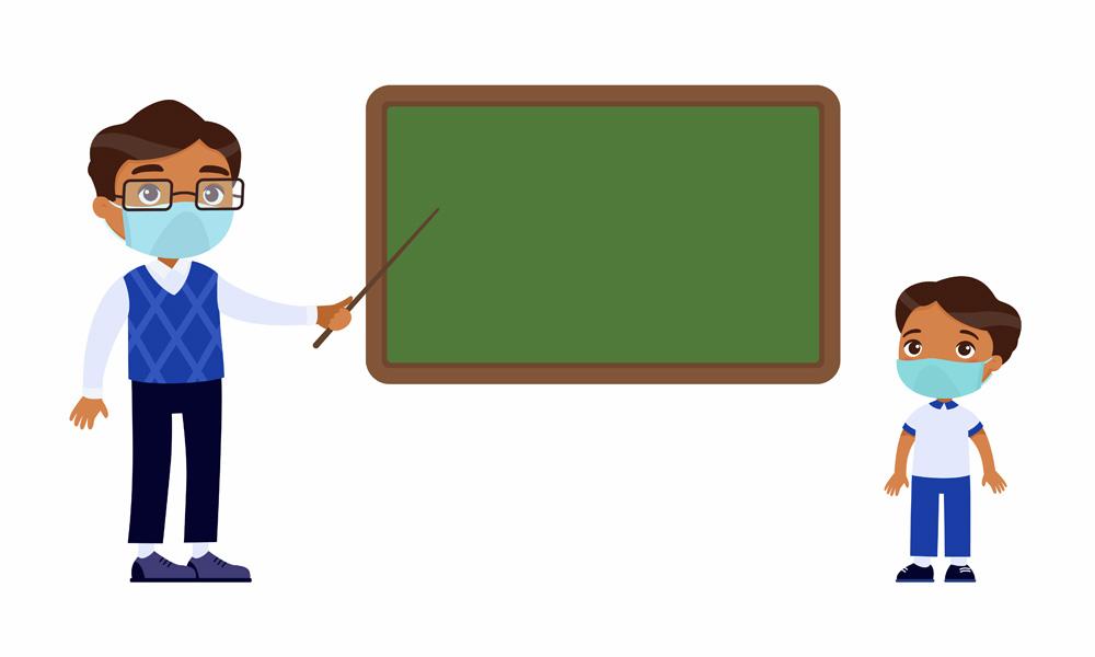 profesor y alumno con mascarilla